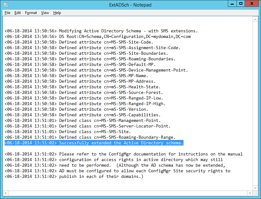 ExtADSch - Successfully extended the Active Directory Schema