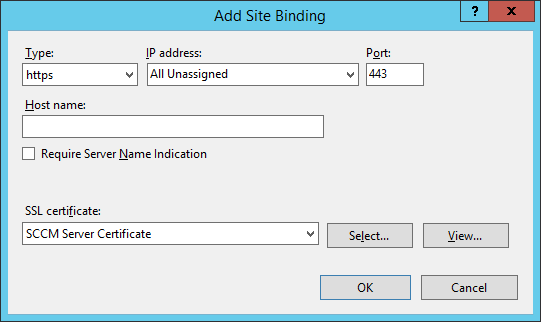 IIS - Site Bindings - Add Site Binding - SCCM
