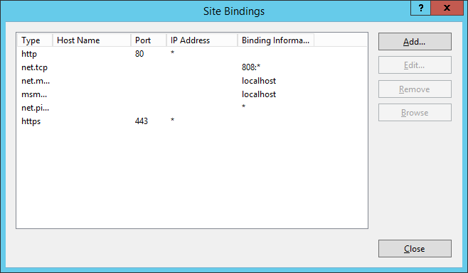 IIS - Site Bindings - SCCM