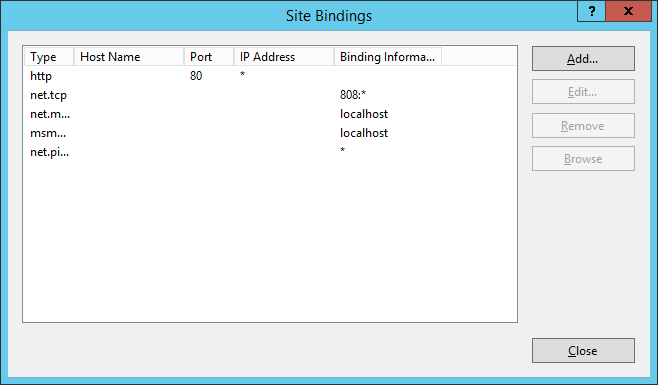 IIS - Site Bindings