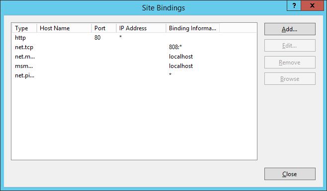 IIS - Site Bindings