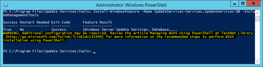 Install-WindowsFeature -Name UpdateServices_UpdateServices-DB -IncludeManagementTools