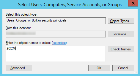 Select Active Directory Object - SCCM