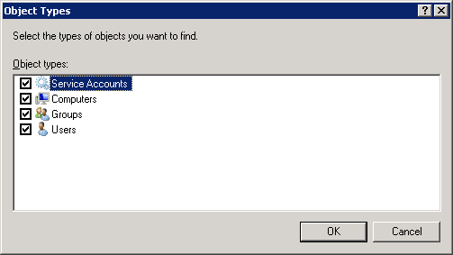 Server 2008 - Select Users - Computers - Service Accounts - Groups - Object Typers - Computers