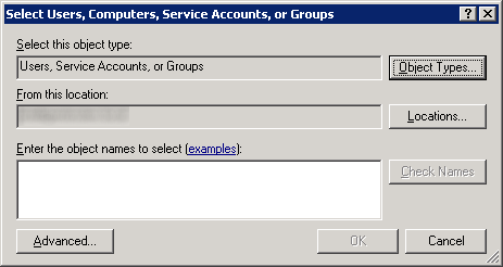 Server 2008 - Select Users - Computers - Service Accounts - Groups