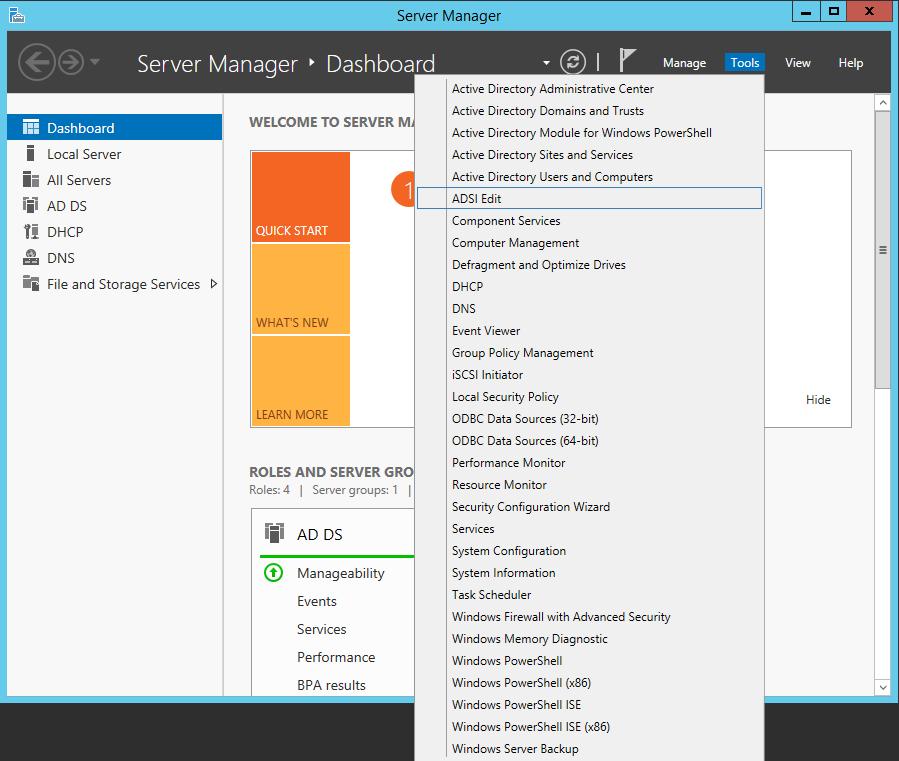 Server Manager - ADSI Edit