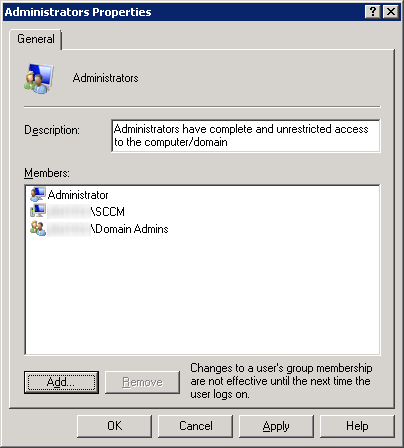 Server Manager - Configuration - Local Users and Groups - Administrators - SCCM