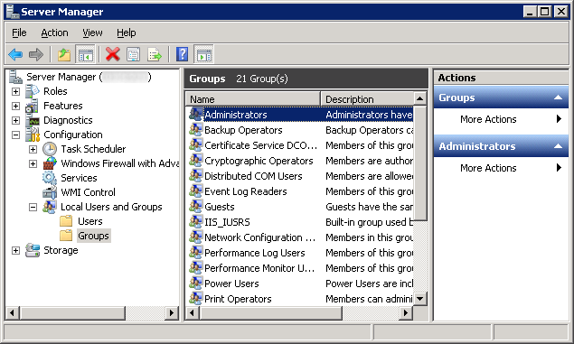 Server Manager - Configuration - Local Users and Groups - Administrators