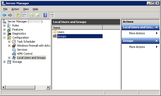 Server Manager - Configuration - Local Users and Groups