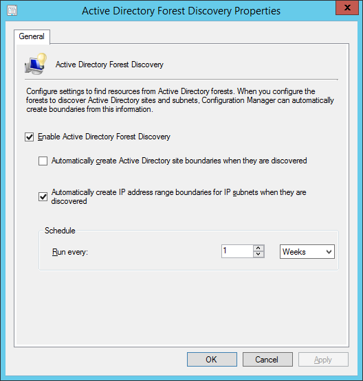 System Center 2012 R2 Configuration Manager - Active Directory Forest Discveory Properties