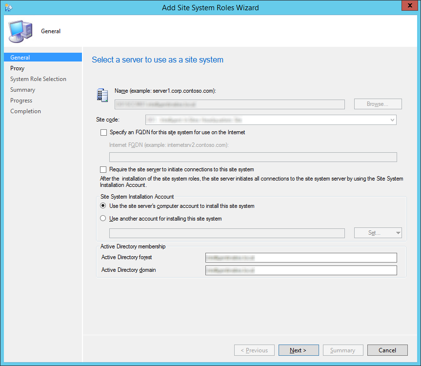 System Center 2012 R2 Configuration Manager - Add Site System Roles Wizard - General