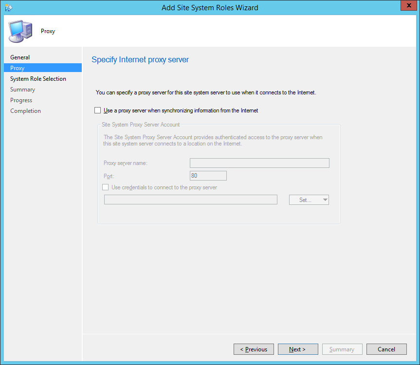 System Center 2012 R2 Configuration Manager - Add Site System Roles Wizard - Proxy