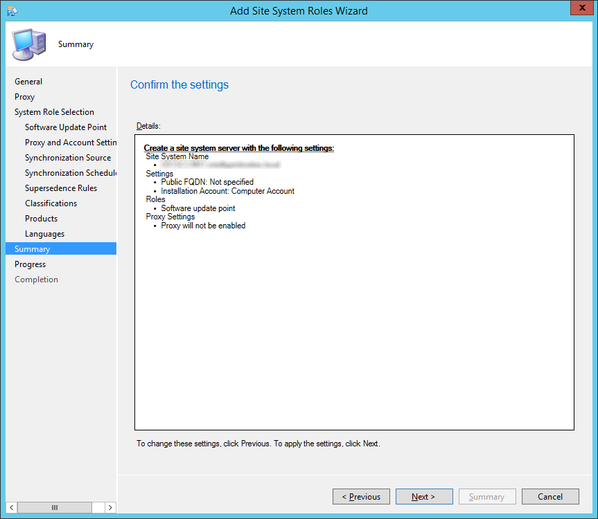 System Center 2012 R2 Configuration Manager - Add Site System Roles Wizard - Summary