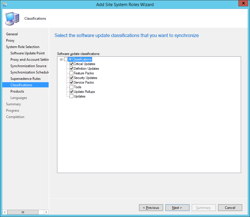 System Center 2012 R2 Configuration Manager - Add Site System Roles Wizard - System Role Selection - Classifications