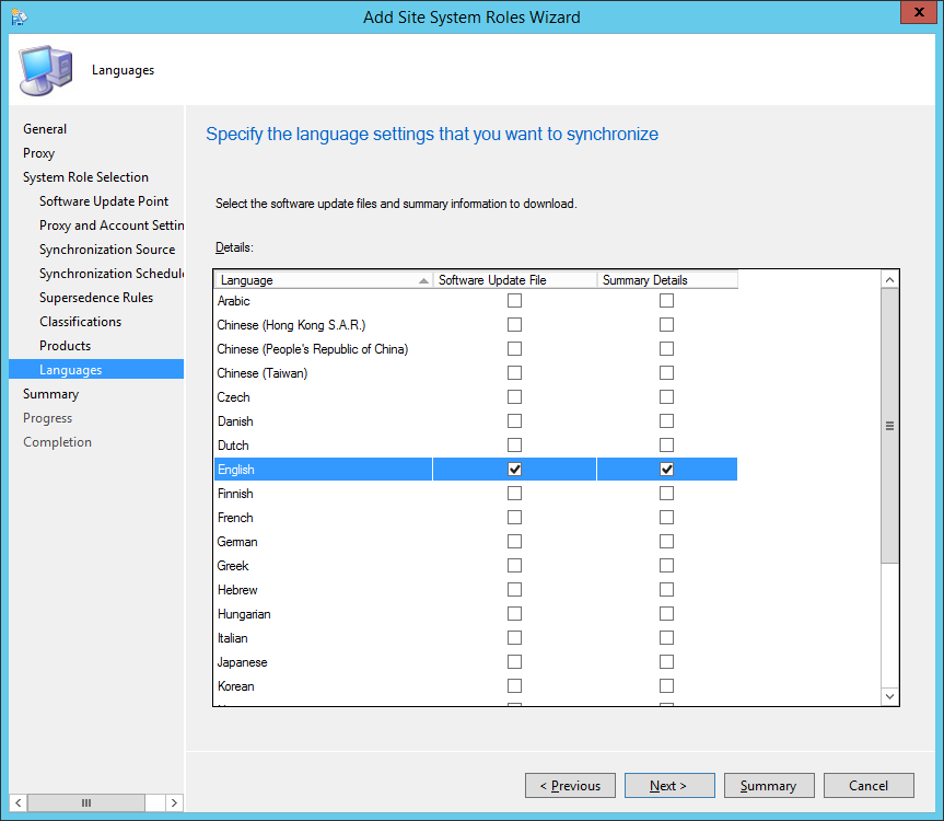 System Center 2012 R2 Configuration Manager - Add Site System Roles Wizard - System Role Selection - Languages