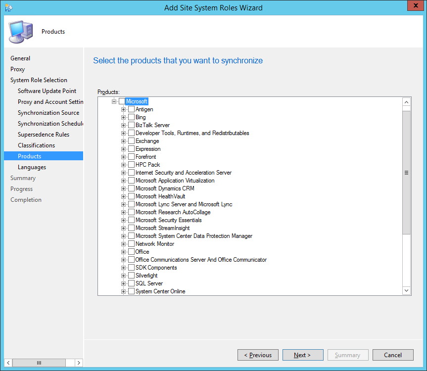System Center 2012 R2 Configuration Manager - Add Site System Roles Wizard - System Role Selection - Products