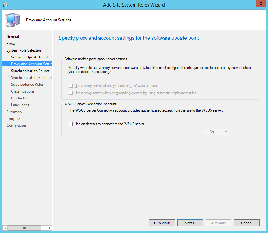 System Center 2012 R2 Configuration Manager - Add Site System Roles Wizard - System Role Selection - Proxy and Account Settings