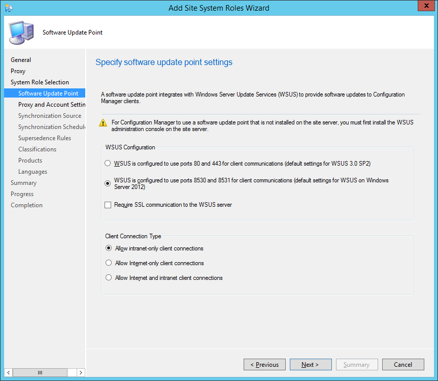System Center 2012 R2 Configuration Manager - Add Site System Roles Wizard - System Role Selection - Software Update Point
