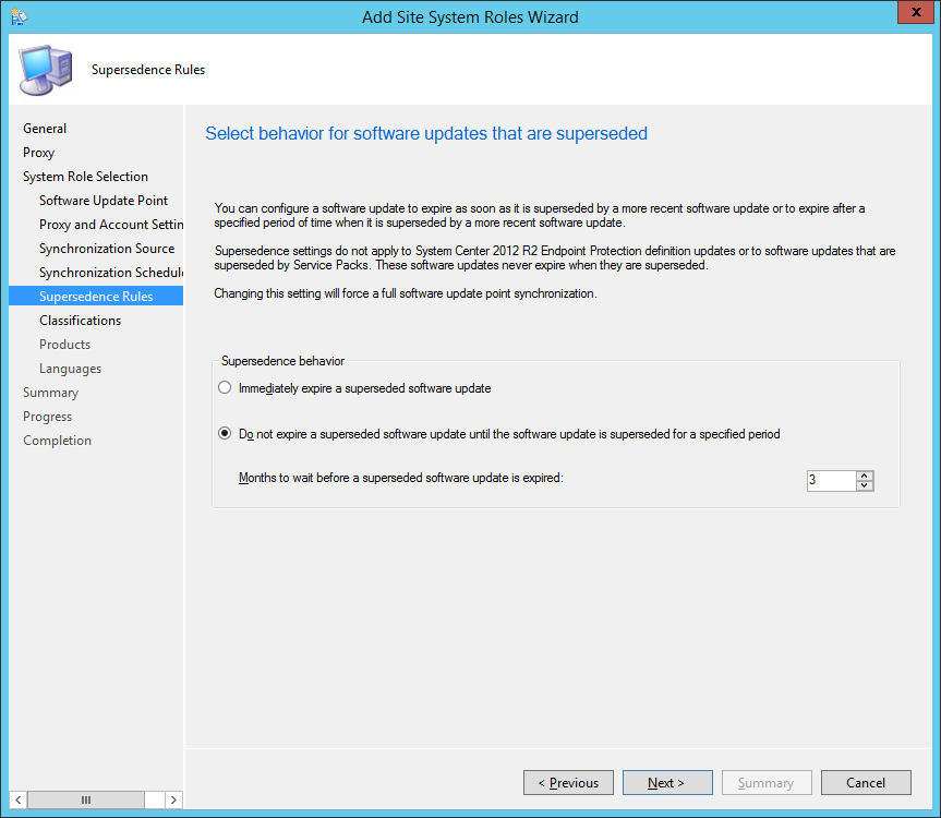 System Center 2012 R2 Configuration Manager - Add Site System Roles Wizard - System Role Selection - Supersedence Rules