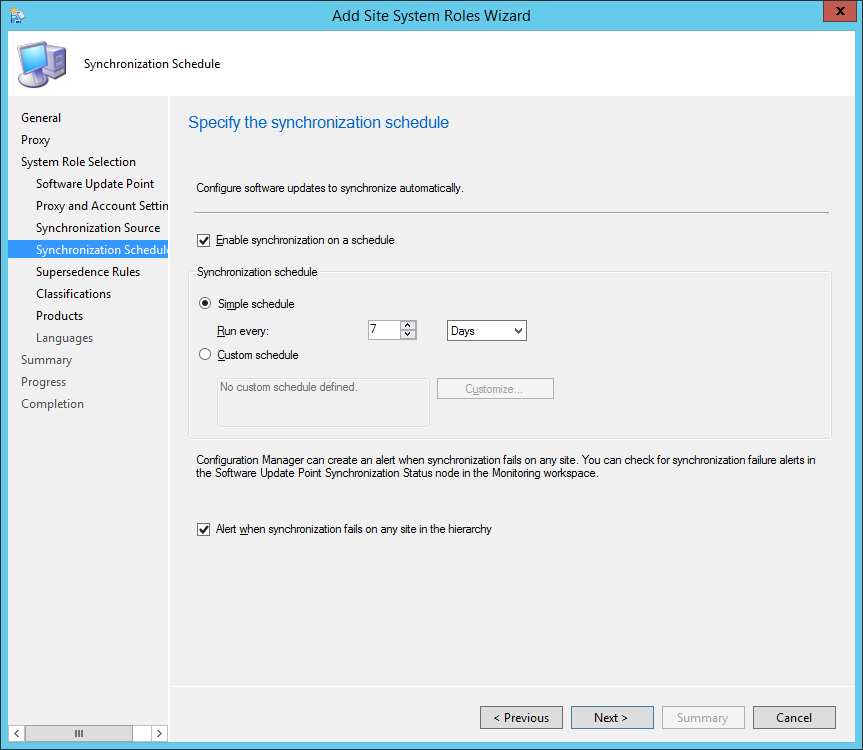 System Center 2012 R2 Configuration Manager - Add Site System Roles Wizard - System Role Selection - Synchronization Schedule