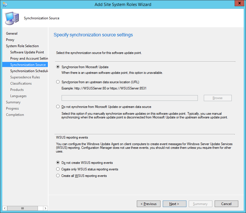 System Center 2012 R2 Configuration Manager - Add Site System Roles Wizard - System Role Selection - Synchronization Source
