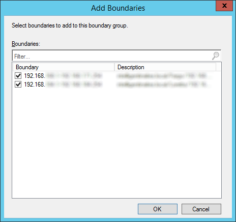 System Center 2012 R2 Configuration Manager - Administration - Hierarchy Configuration - Boundary Groups - Create Boundary Group - Add Boundaries