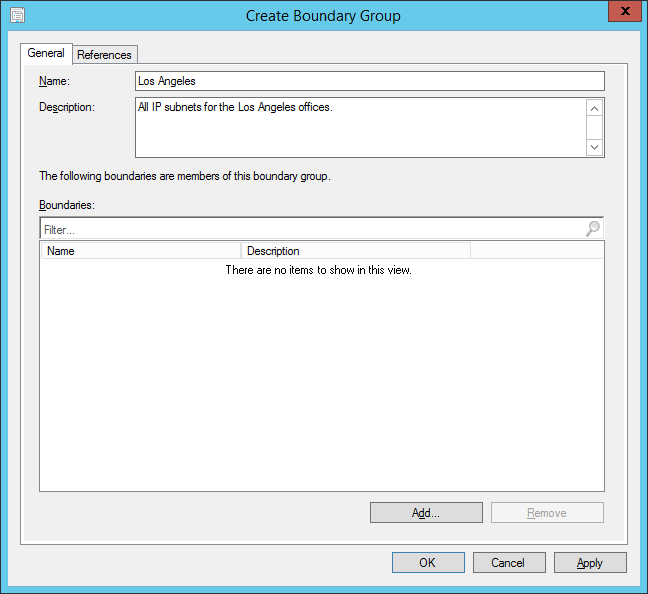 System Center 2012 R2 Configuration Manager - Administration - Hierarchy Configuration - Boundary Groups - Create Boundary Group - Name-Description