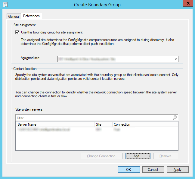 System Center 2012 R2 Configuration Manager - Administration - Hierarchy Configuration - Boundary Groups - Create Boundary Group - References Tab - Site system servers