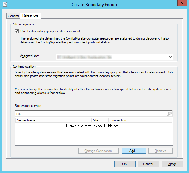 System Center 2012 R2 Configuration Manager - Administration - Hierarchy Configuration - Boundary Groups - Create Boundary Group - References Tab