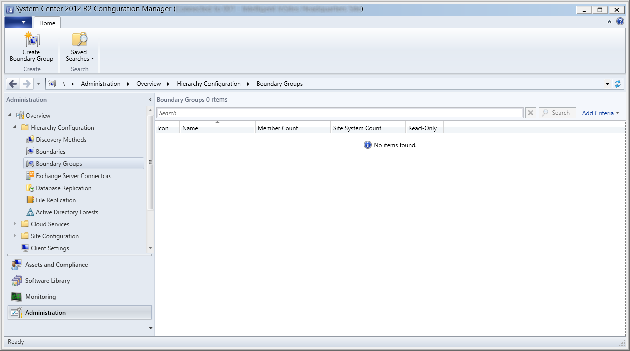 System Center 2012 R2 Configuration Manager - Administration - Hierarchy Configuration - Boundary Groups