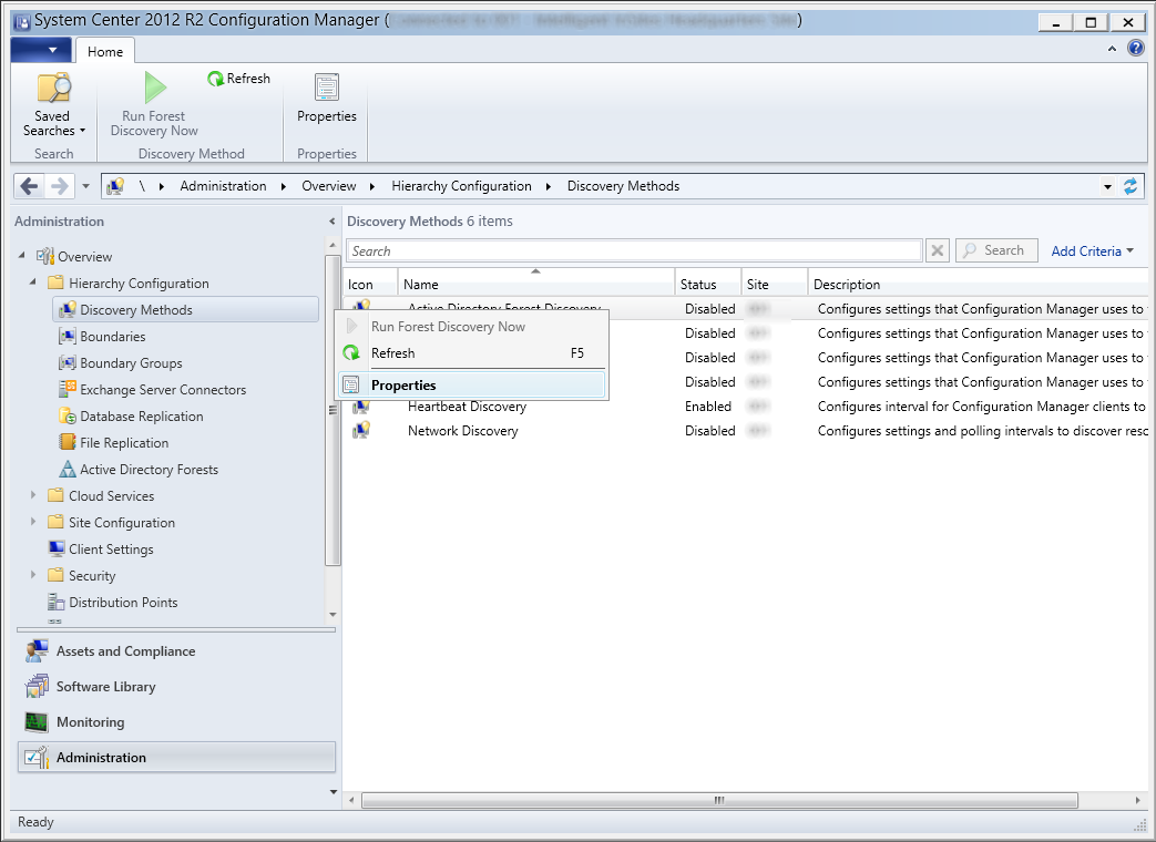 System Center 2012 R2 Configuration Manager - Administration - Hierarchy Configuration - Discovery Methods - Active Directory Forest Discovery - Properties