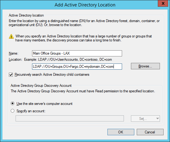 System Center 2012 R2 Configuration Manager - Administration - Hierarchy Configuration - Discovery Methods - Active Directory Group Discovery - Add Active Directory Location