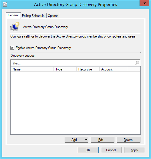 System Center 2012 R2 Configuration Manager - Administration - Hierarchy Configuration - Discovery Methods - Active Directory Group Discovery - Properties - General Tab