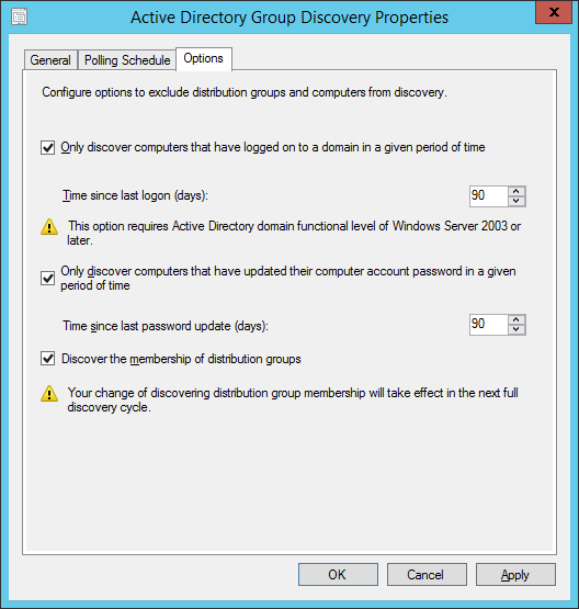 System Center 2012 R2 Configuration Manager - Administration - Hierarchy Configuration - Discovery Methods - Active Directory Group Discovery - Properties - Options Tab