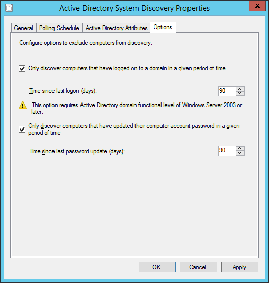 System Center 2012 R2 Configuration Manager - Administration - Hierarchy Configuration - Discovery Methods - Active Directory System Discovery - Properties - Options Tab