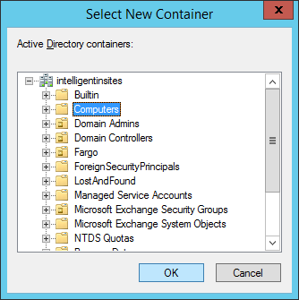 System Center 2012 R2 Configuration Manager - Administration - Hierarchy Configuration - Discovery Methods - Active Directory System Discovery - Properties - Select New Container