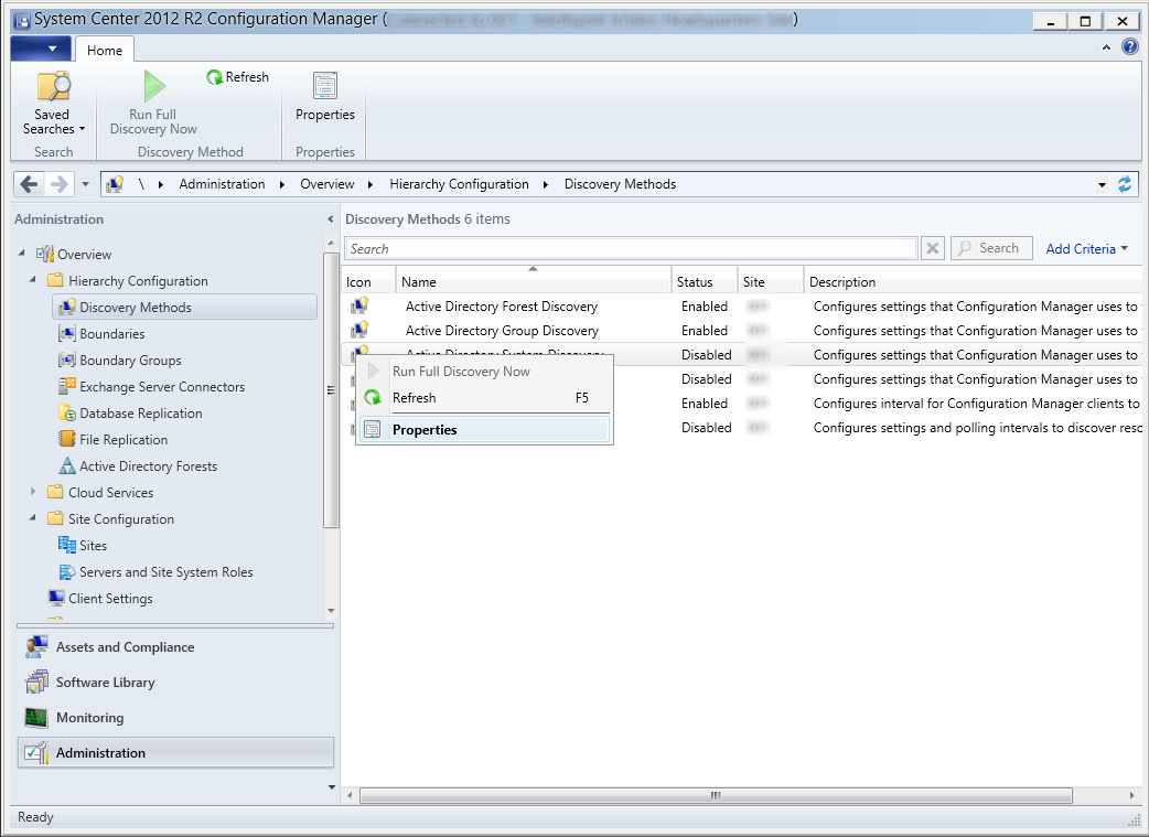 System Center 2012 R2 Configuration Manager - Administration - Hierarchy Configuration - Discovery Methods - Active Directory System Discovery - Properties