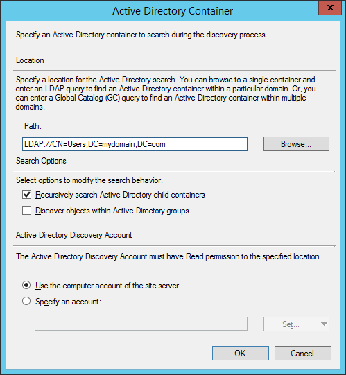 System Center 2012 R2 Configuration Manager - Administration - Hierarchy Configuration - Discovery Methods - Active Directory User Discovery - Properties - Active Directory Container