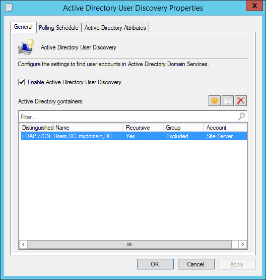 System Center 2012 R2 Configuration Manager - Administration - Hierarchy Configuration - Discovery Methods - Active Directory User Discovery - Properties - General Tab - LDAP Path