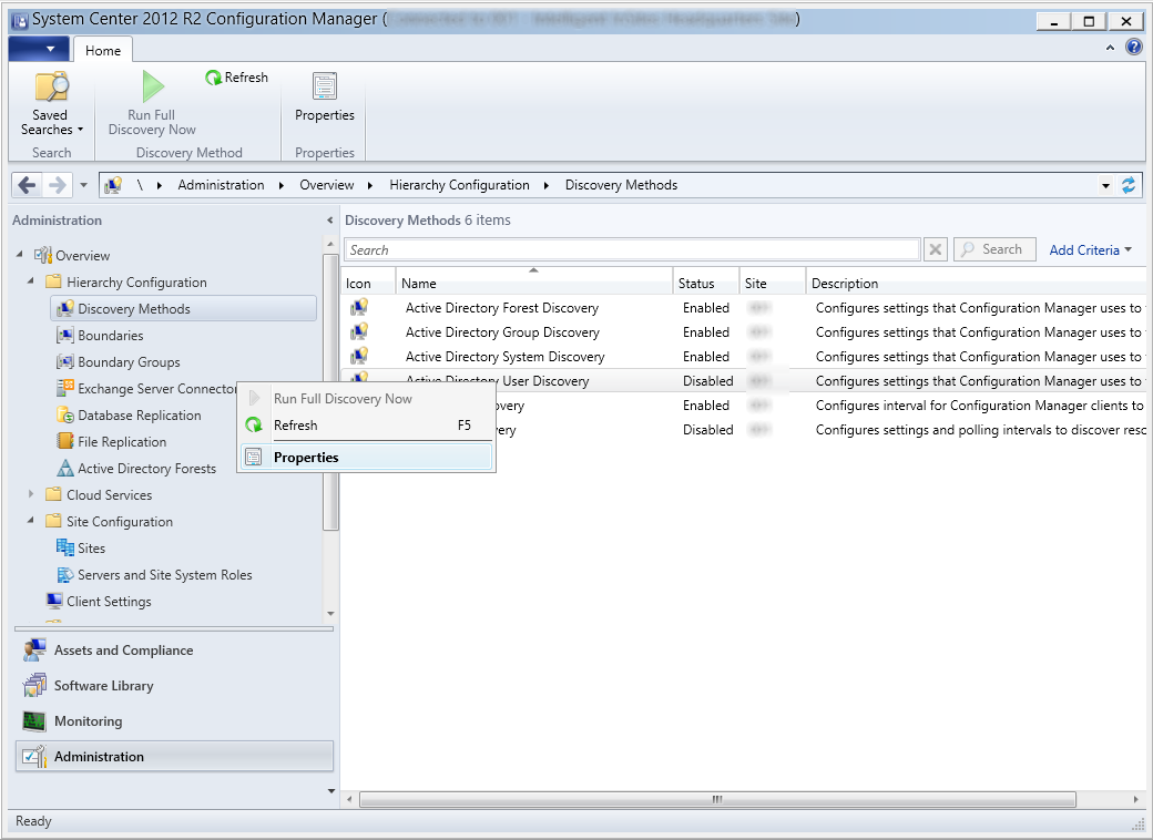 System Center 2012 R2 Configuration Manager - Administration - Hierarchy Configuration - Discovery Methods - Active Directory User Discovery - Properties