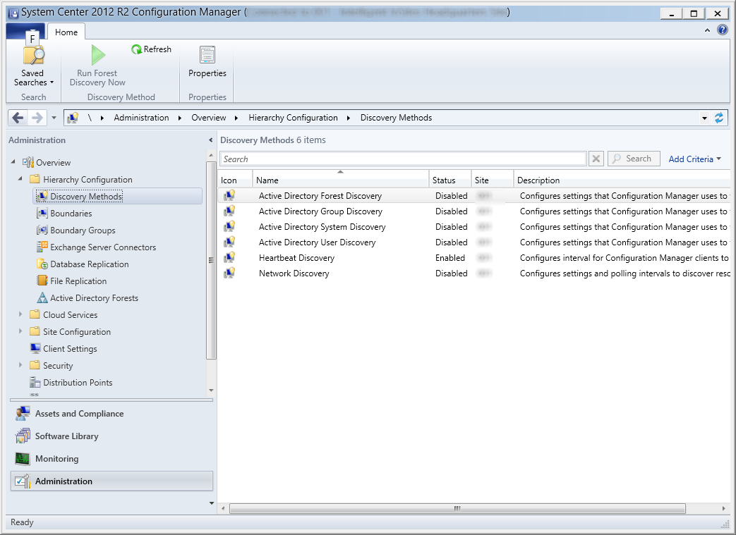System Center 2012 R2 Configuration Manager - Administration - Hierarchy Configuration - Discovery Methods
