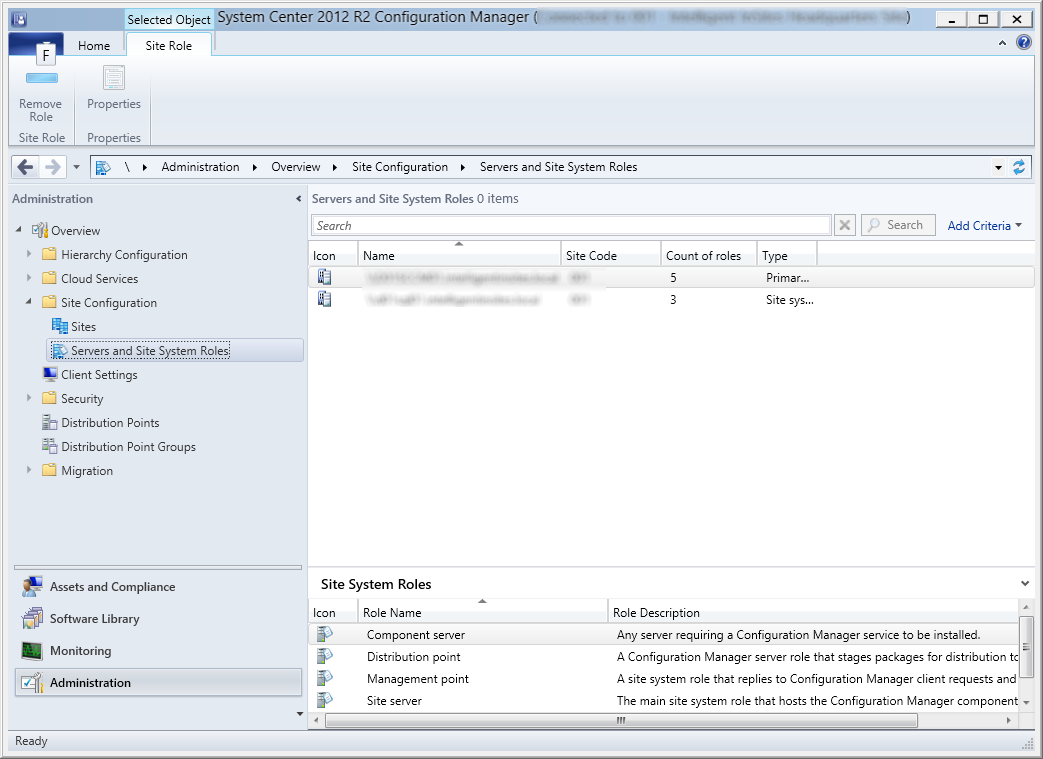 System Center 2012 R2 Configuration Manager - Administration - Servers and Site System Roles