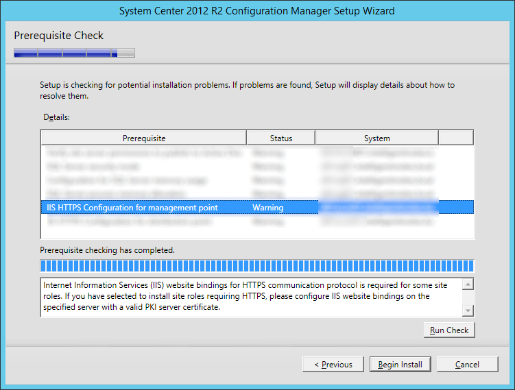 System Center 2012 R2 Configuration Manager Setup Wizard - Prerequisite Check - Warning IIS HTTPS Configuration for managment point