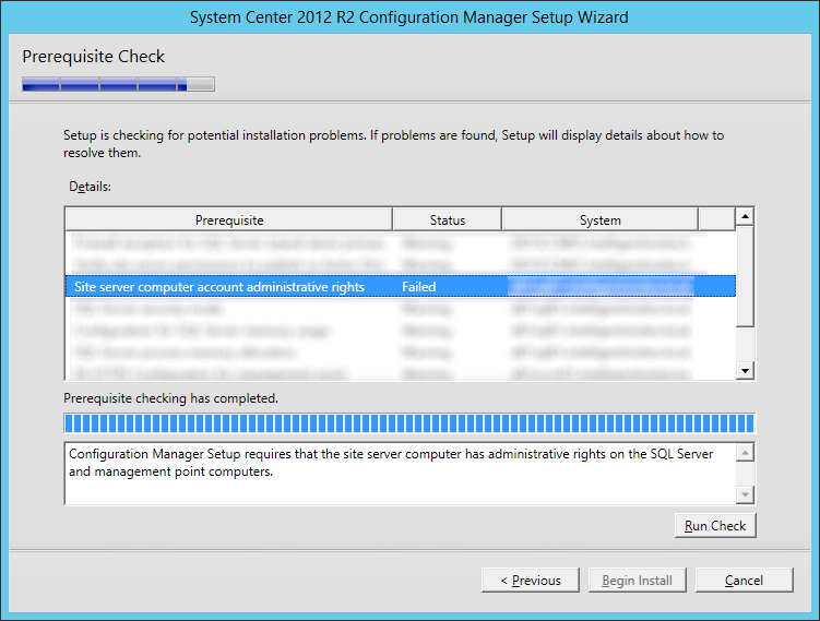 System Center 2012 R2 Configuration Manager Setup Wizard - Site server computer account administrative rights failed