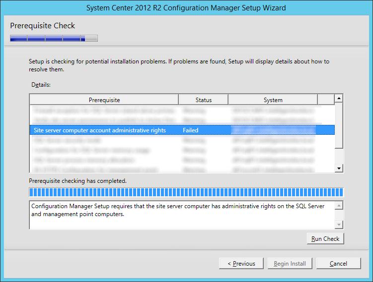 SCCM 2012 R2 – Site server computer account administrative