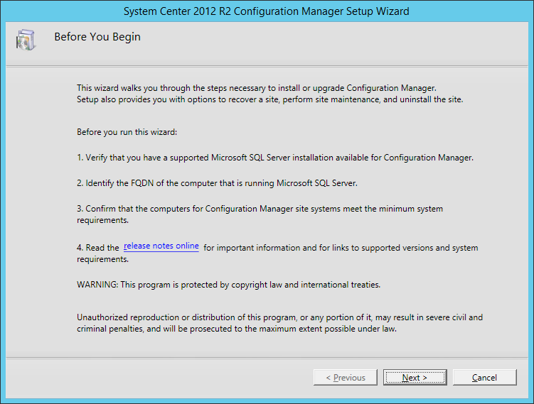 System Center 2012 R2 Configuration manager Setup - Before You Begin