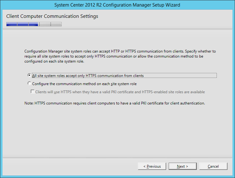 System Center 2012 R2 Configuration manager Setup - Client Computer Communication Settings