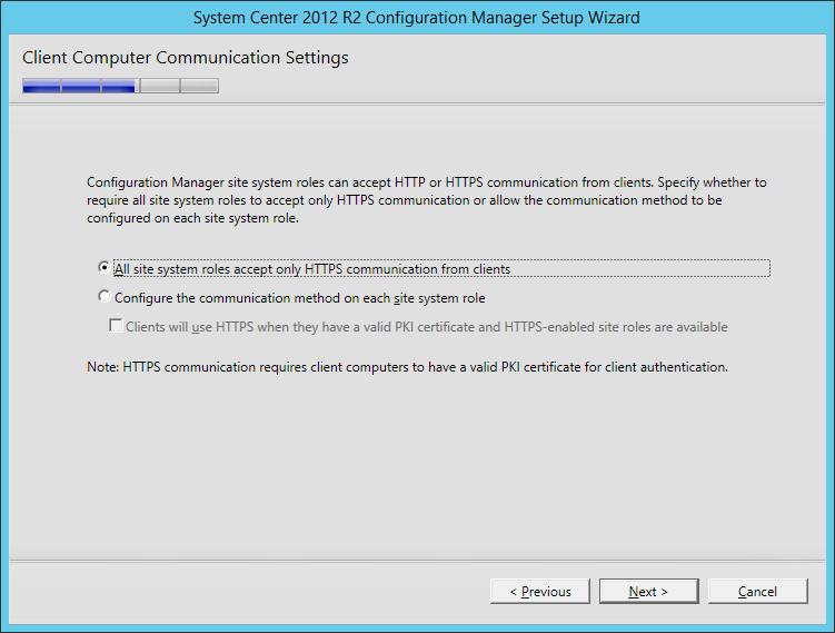 System Center 2012 R2 Configuration manager Setup - Client Computer Communication Settings