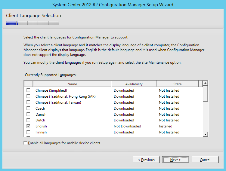 System Center 2012 R2 Configuration manager Setup - Client Language Selection