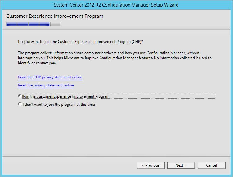 System Center 2012 R2 Configuration manager Setup - Customer Experience Improvement Program